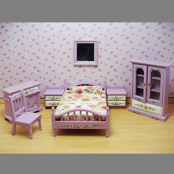 Purple Nursery Baby Bed Armoire Dollhouse Furniture Set #11487