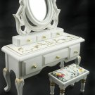 Victorian Vanity Drawer Chair Dollhouse Furniture Set #11496