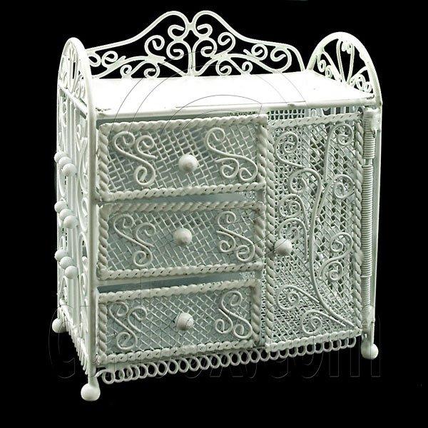 White Wire Dresser Chest with Drawer Dollhouse Furniture #11602
