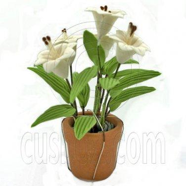 Porcelain New White Lily Flower Pot Dollhouse Miniature #11747