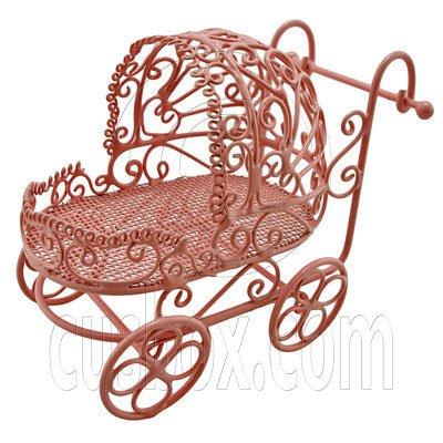 Pink Wire Nursery Baby Stroller Pram 1:12 Doll's House Dollhouse Miniature MIB #12003