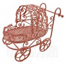 Pink Wire Nursery Baby Stroller Pram 1:12 Doll's House Dollhouse Miniature MIB #12003