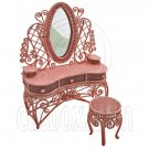 Pink Wire Vanity Mirror + Chair 1:12 Doll's House Dollhouse Furniture Set MIB #12040