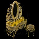 Gold Wire Vanity Mirror + Chair 1:12 Doll's House Dollhouse Furniture Set MIB #12042
