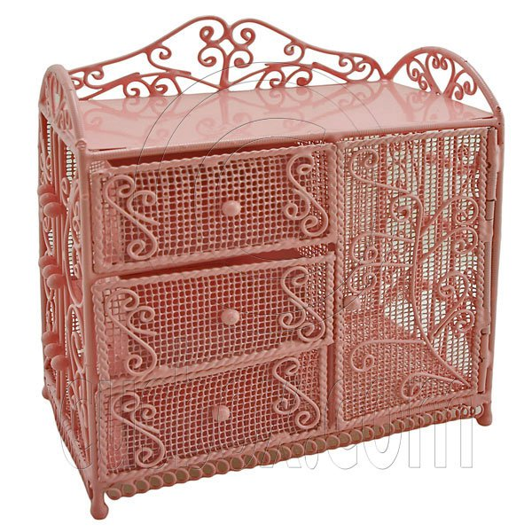 Pink Wire Dresser Chest Cabinet 1:6 for Barbie Doll's House Dollhouse Furniture #12058