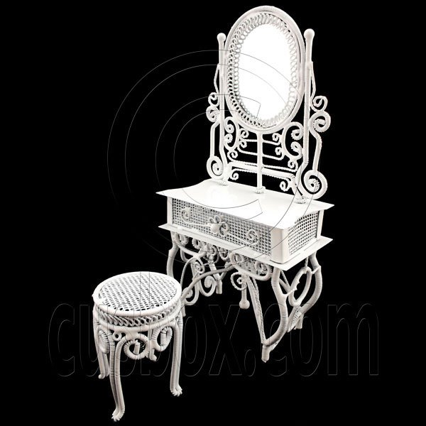 White Wire Vanity Mirror Chair New Set 1:12 Doll's House Dollhouse Furniture MIB #12091