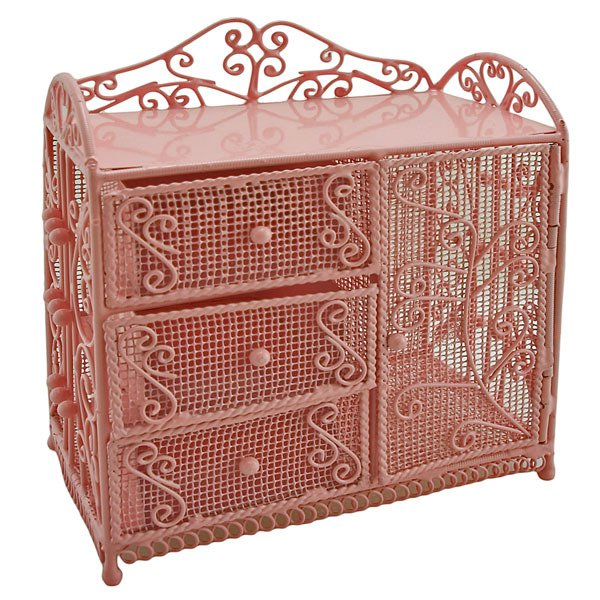 Pink Wire Dresser Chest w Drawer Cabinet 1:12 Doll's House Dollhouse Furniture #12107