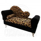 Cheetah Chaise Longue Sofa Chair Bed Jewelry Box 1:6 Barbie Dollhouse Furniture #12265