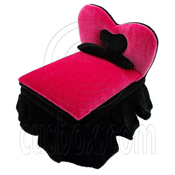 Black Pink Heart New Plush Double Bed Jewelry Box 1:6 Barbie Dollhouse Furniture #12280
