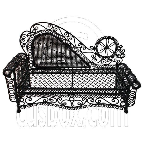 Black Wire Chaise Longue Long Sofa Sleeper 1:12 Doll's House Dollhouse Furniture #12285