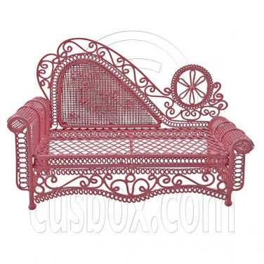 Pink Wire Chaise Longue Long Sofa Sleeper 1:12 Doll's House Dollhouse Furniture #12286