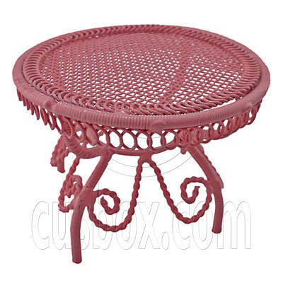 Pink Wire Queen Ann Round Cafe Tea Table 1:12 Doll's House Dollhouse Furniture #12288