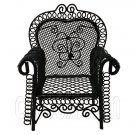 Black Wire Single Armchair Arm Chair Home 1:12 Doll's House Dollhouse Furniture #12296