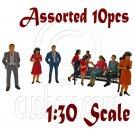 LotSet 10 Sitting Standing People Figure Painted War Train Model 1:30 G Scale #12281