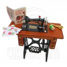 Vintage Sewing Machine + Knitting Tools Book Doll's House Dollhouse Miniature #12639