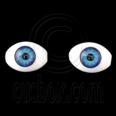 Royal Blue Pair Oval Doll Eyes Half Round Acrylic Dolls Eye 14mm Iris Dia 6mm #12763