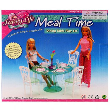 Green Dining Room Table Chair Ware Furniture Set 1/6 for Barbie Monster High MIB #12794