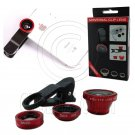 3 In 1 Lens Clip Selfie Kit Macro Wide Angle Fish Eye Set for Mobile Phone MIB #13057