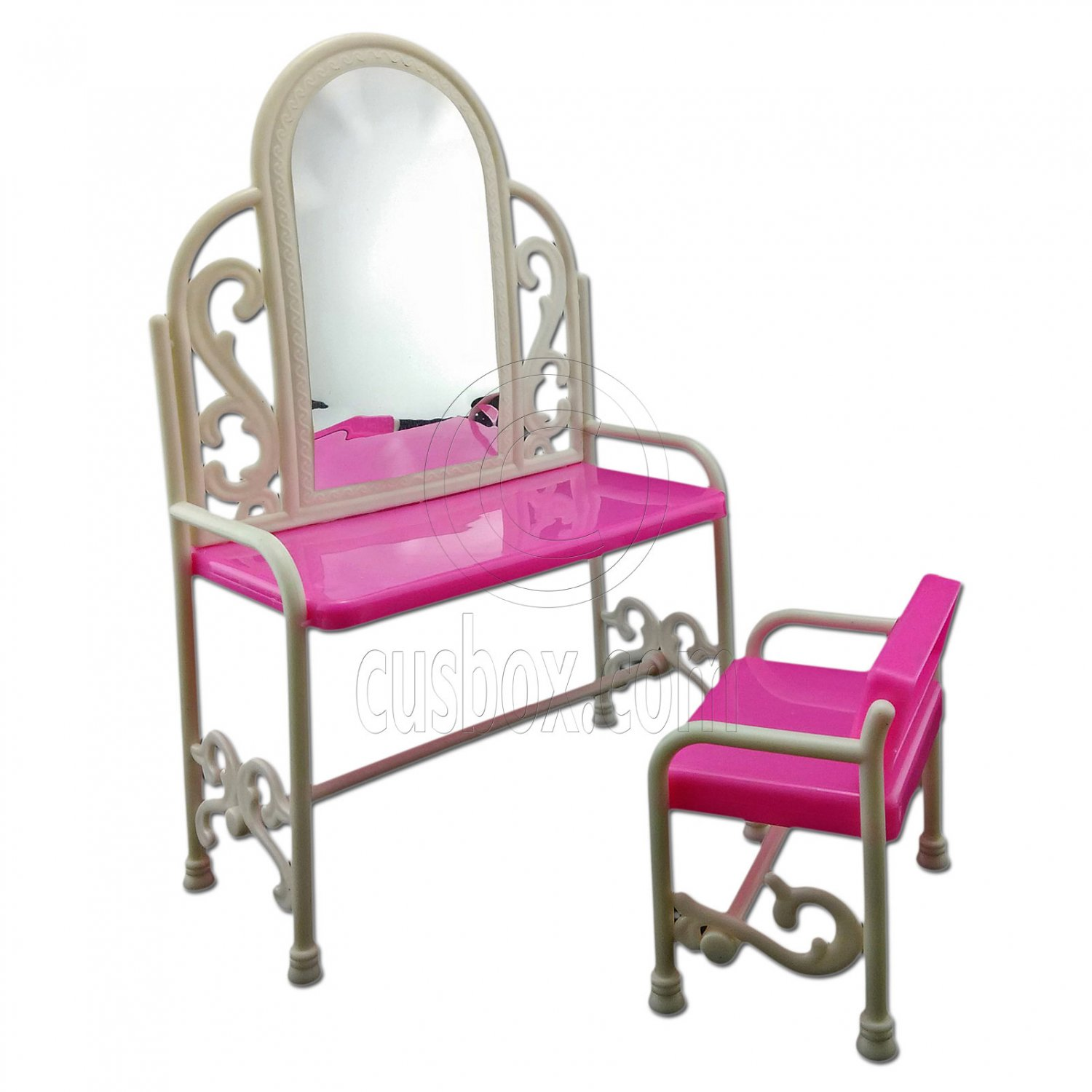 Set Vanity Mirror Desk Chair 1:6 Scale Barbie Doll's House Dollhouse Furniture #13073