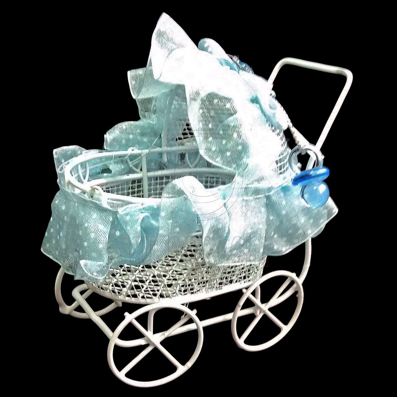 White Blue Wire Nursery Baby Stroller Pram 1:12 Doll's House Dollhouse Furniture #13084