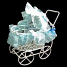 White Blue Wire Nursery Baby Stroller Pram 1:12 Doll's House Dollhouse Furniture #13084