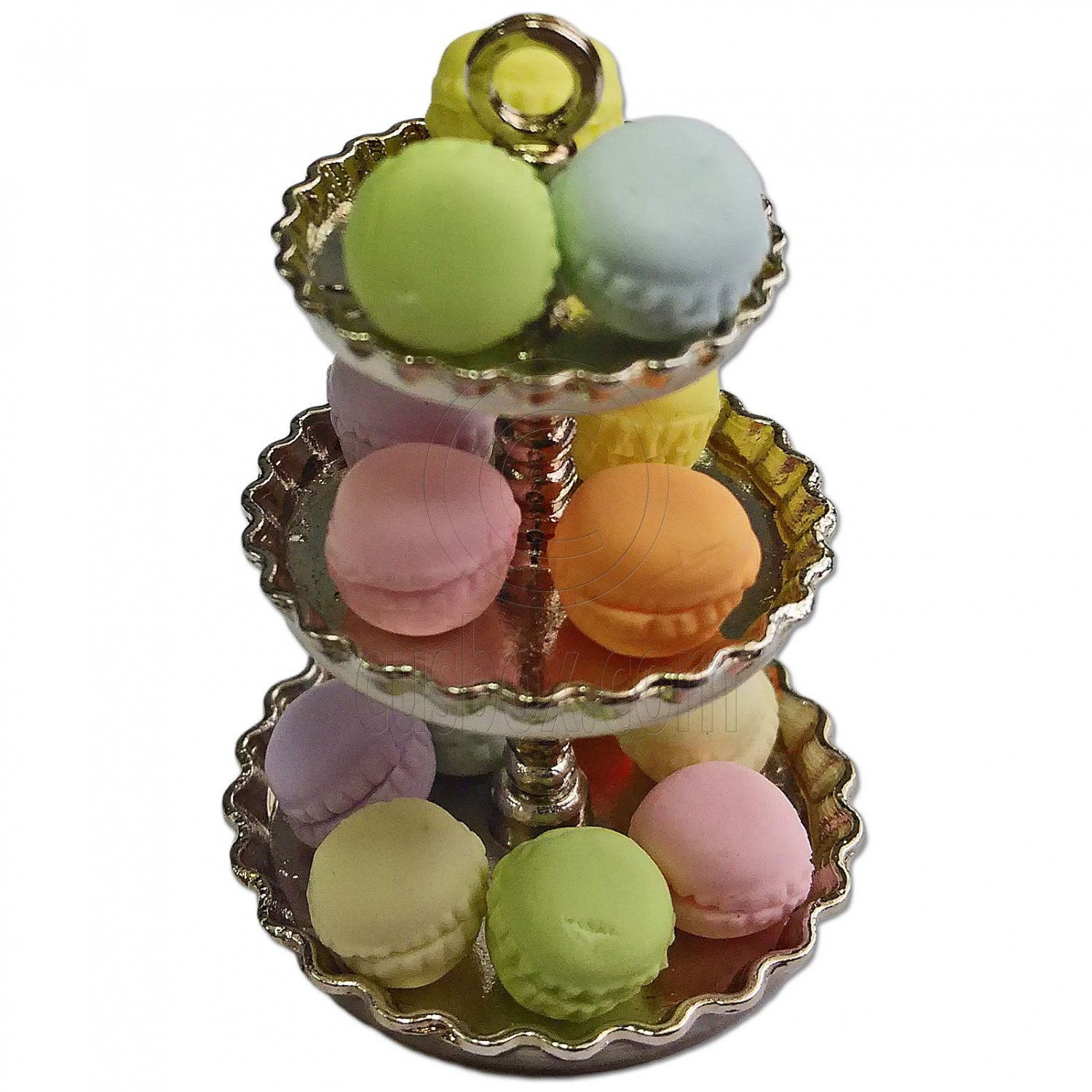 Silver Metal 3-Tiers Tiered Cake Stand With 14 Macarons 1