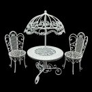 Set White Wire Garden Umbrella Table Chair 1:12 Doll's House Dollhouse Furniture #13105
