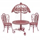 Set Pink Wire Garden Umbrella Table Chair 1:12 Doll's House Dollhouse Furniture #13106