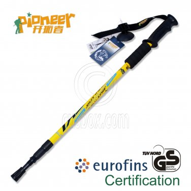 PIONEER Anti-Shock Trekking Pole 65-135cm 3-Section 6061 Aluminum Alloy - Single - YELLOW #51955