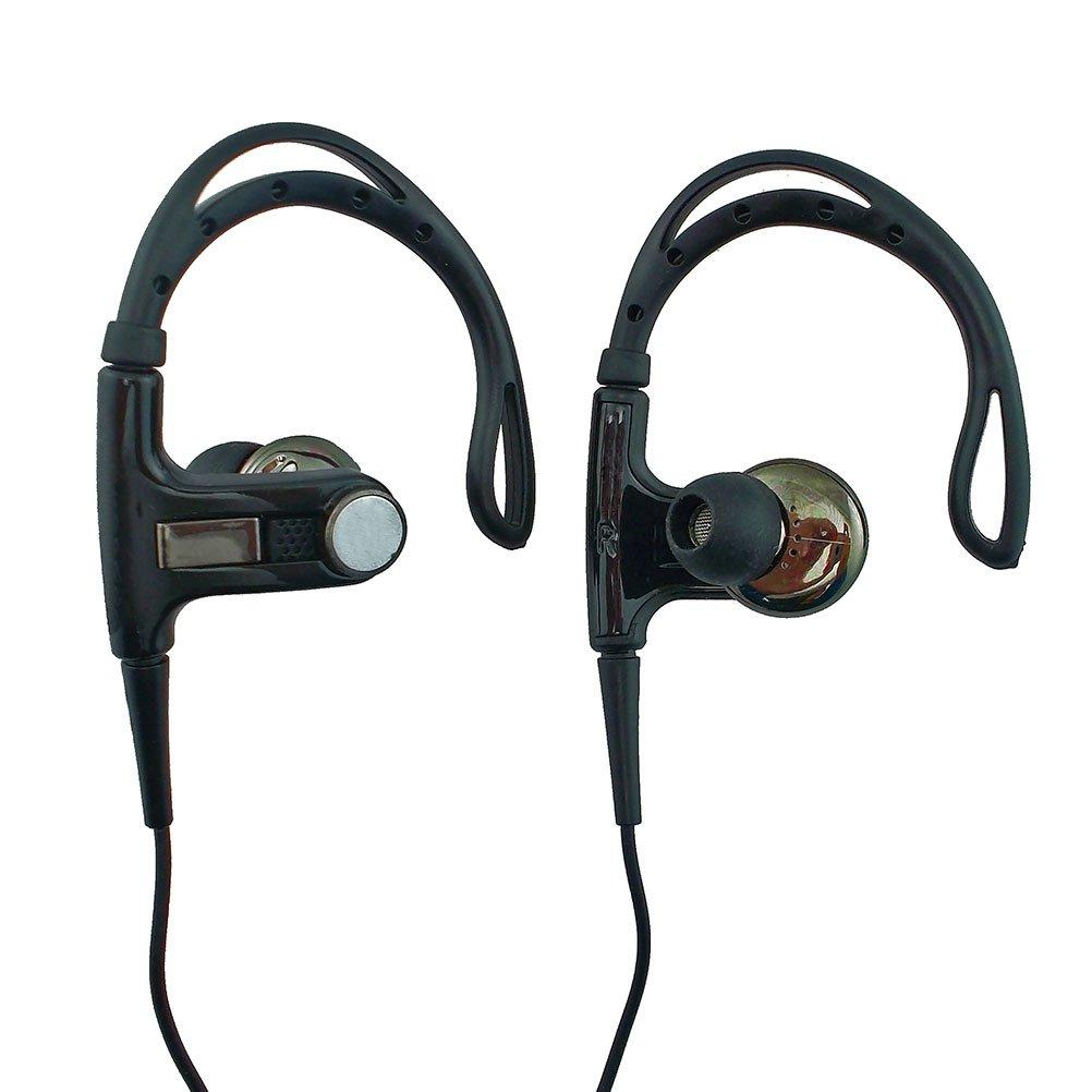 3.5mm In-Ear Clip Sports Stereo Hook Running Jogging Earhook Earbud Headphones[Black] #12910