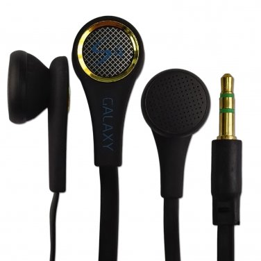 Black 3.5mm Stereo Earphones Headphones Earbuds Headset Flat Tangle Free Cable #13194