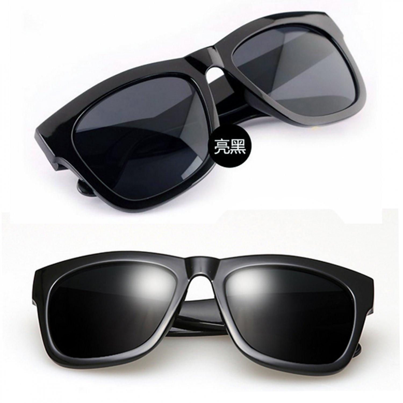 Bright Black Frame Women's Men's Wayfarer Flat Style Shades Designer Sunglasses #13275
