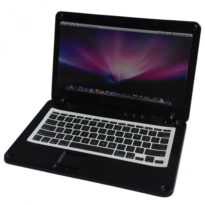 Black Metal Laptop MacBook 16:10 1/12 Scale Doll's House Dollhouse Miniature #13313