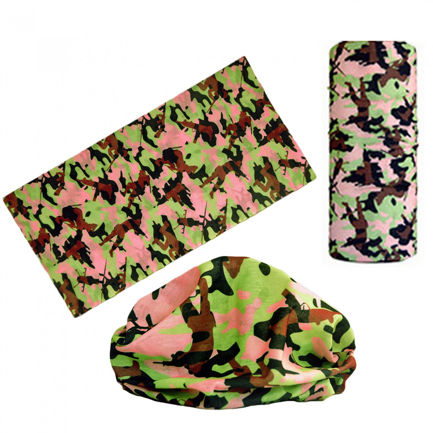 Pink Brown Gray Camouflage Adult Women's Men's Cycling Hiking Scarf Bandana Bandanna Gear #13300