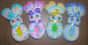 DELUXE WASHCLOTH BUNNY BABY SHOWER FAVOR-DIAPER CAKES