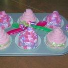 6PK BURP CLOTH CUPCAKES IN A CUPCAKE PAN ~ SHOWER FAVOR