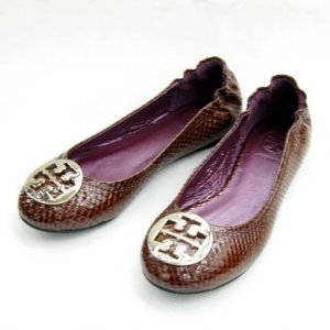 Tory Burch Reva Lizard purple Embossed Leather Flat Coconut SIZE US 5-10