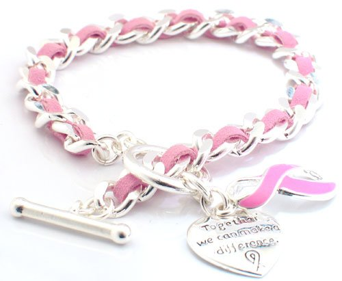 Breast Cancer Awareness Bracelet - Silver and Suede Linked #73-20