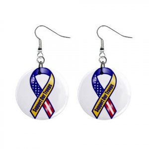 """Support Our Troops Earrings 1"""" Button Style Dangle Made In USA 16452805"""