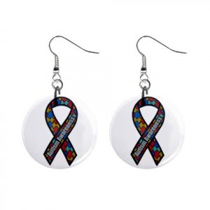 "Autism Awareness Ribbon Earrings 1"" Button Style Dangle Made In USA 16452824"