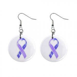 """Alzheimers Awareness Ribbon Earrings 1"""" Button Style Dangle Made In USA 16452825"""