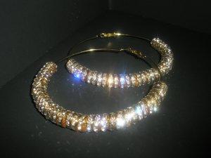 SALE!! Gold Crystal Charm Hoop Earrings-LARGE Basketball Wives