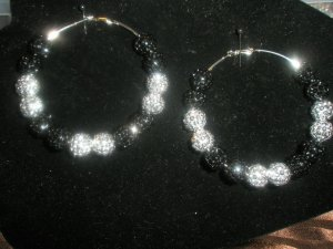 Beaded Crystal Hoops LARGE - As Seen on Basketball Wives