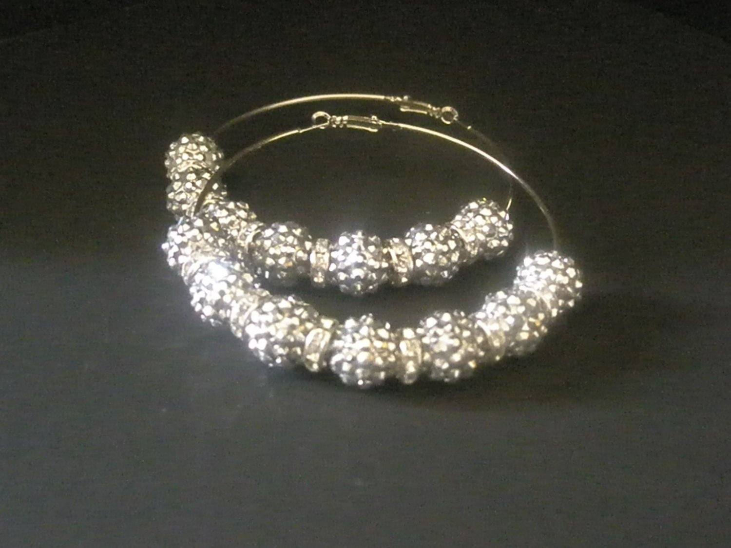 Crystal Pave Hoops SILVER
