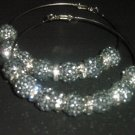 Pewter Crystal Pave Hoops