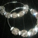 Pewter Mesh Hoop Earrings - LARGE Basketball Wives Inspired
