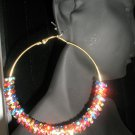 NEW ITEM! BASKETBALL WIVES Multi-Colored Charm Hoop Fashion Earrings-LARGE
