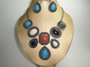Color Block Statement Necklace & Earring Set