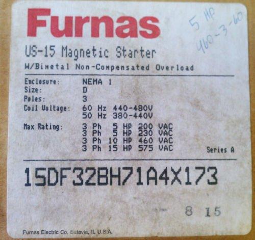 Furnas US15 Starter w/ Nema 1 Enclosure 3 Pole Size D