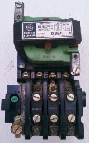 GE CR206A1 Motor Starter Size 00 115 Volt Coil C2.39A